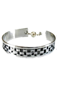Silver and Black Weave Bangle